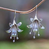 Sterling silver drop earrings, 'Bloom Time' - Handcrafted Floral Sterling Silver Drop Earrings from Bali