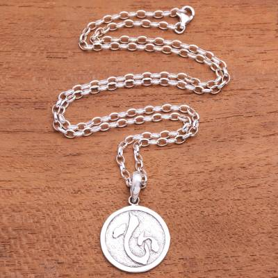 Men's sterling silver pendant necklace, 'Kokoro Coin' - Japanese Symbol Men's Sterling Silver Pendant Necklace