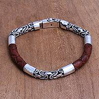 Men's sterling silver and leather bracelet, 'Strong Bond in Brown' - Men's Sterling Silver and Leather Bracelet in Brown