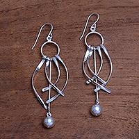 Sterling silver chandelier earrings, 'Queenly Elegance' - Artisan Crafted Sterling Silver Chandelier Earrings