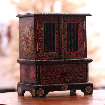 Batik wood jewelry chest, 'Parang Flowers' - Floral Batik Wood Jewelry Chest from Java