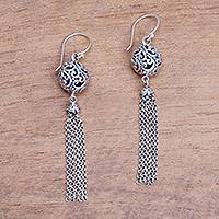 Sterling silver chandelier earrings, 'Forest Orbs' - Swirl Pattern Sterling Silver Chandelier Earrings from Bali