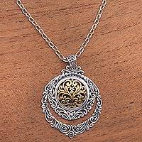Gold accented sterling silver pendant necklace, 'Jungle Roots' - Patterned Gold Accented Sterling Silver Pendant Necklace
