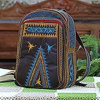 Cotton backpack, 'Banda Bay' - Embroidered Cotton Backpack in Sunrise and Teal from Bali