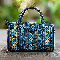 Cotton handbag, 'Teal Sultanate' (11.5 inch) - Embroidered Cotton Handbag in Teal and Saffron (11.5 in.)
