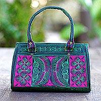 Cotton handle handbag, 'Viridian Bay' - Embroidered Cotton Handle Handbag in Viridian and Rose