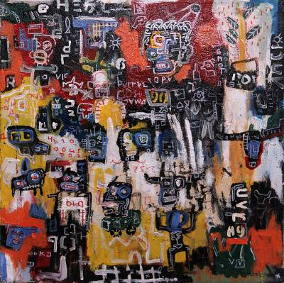 'Social Figure' - Modern Abstract Painting Signed by a Javanese Artist