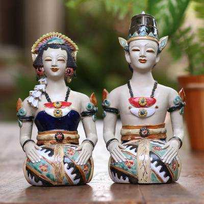 Ceramic statuettes, Java Loro Blonyo (pair)
