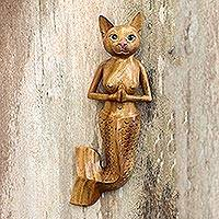 Wood wall sculpture, 'Mermaid Cat' - Suar Wood Mermaid Cat Wall Sculpture from Bali