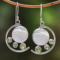 Peridot and bone dangle earrings, 'Wolf Prince' - Peridot and Bone Wolf Dangle Earrings from Java