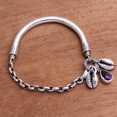 Sterling silver and amethyst bracelet, 'Glistening Shells' - Sterling Silver and Faceted Amethyst Bracelet from Java