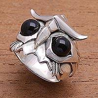 Men's obsidian ring, 'Fierce Owl' - Men's Obsidian Owl Ring from Bali