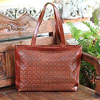 Leather shoulder bag, 'Starry Landscape in Mahogany' - Star Pattern Leather Shoulder Bag in Mahogany from Bali