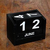 Wood calendar, 'Counting the Days in Black' - Wood Perpetual Calendar in Black from Bali