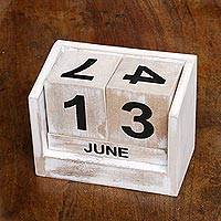 Wood calendar, 'Counting the Days' - Distressed Wood Perpetual Calendar from Bali