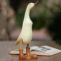 Wood and bamboo root sculpture, 'Vanilla Duck' - Acacia Wood and Bamboo Root Duck Sculpture in Vanilla