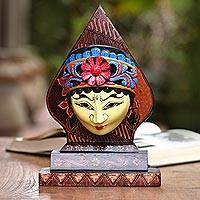 Batik wood mask, 'Karawang Princess' - Traditional Batik Wood Mask Crafted in Java