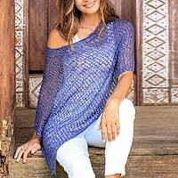 Crocheted poncho, 'Indigo Blue Sanur Shade' - Lightweight Hand Crocheted Poncho in Indigo from Bali