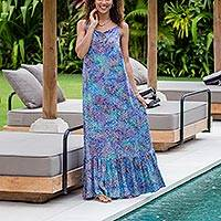 Batik rayon sundress, 'Rainbow Clouds' - Colorful Hand-Stamped Batik Rayon Sundress from Bali