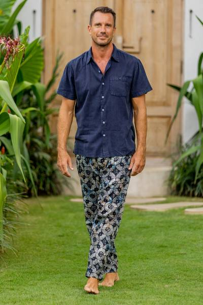Men's cotton lounge pants, 'Dawn Fireworks' - Circular Motif Men's Cotton Lounge Pants from Bali