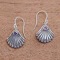Amethyst dangle earrings, 'Seashore Shells' - Seashell-Shaped Amethyst Dangle Earrings from Bali
