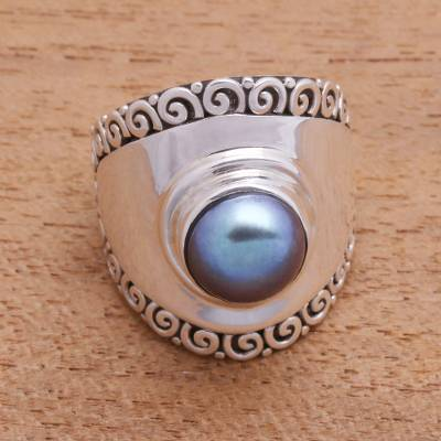Cultured pearl cocktail ring, Mountaintop in Peacock