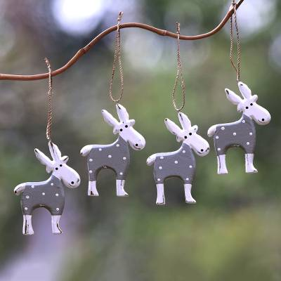 Wood ornaments, 'Winter Goats in Grey' (set of 4) - Wood Goat Ornaments in Grey from Bali (Set of 4)