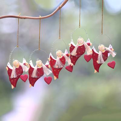 Wood ornaments, 'Angels Giving Love' (set of 5) - Heart-Themed Wood Angel Ornaments in Red (Set of 5)