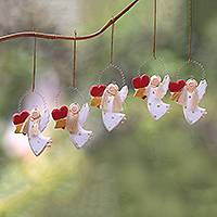 Wood ornaments, 'Loving Angels' (set of 5) - Heart-Themed Wood Angel Ornaments in White (Set of 5)