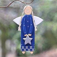 Wood holiday decor, 'Star Angel in Blue' - Blue Wood Angel with a Star in Holiday Decor from Bali