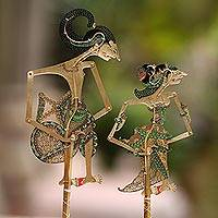 Leather shadow puppets, 'Arjuna and Srikandi in Green' (pair) - Arjuna and Srikandi Leather Shadow Puppets in Green (Pair)