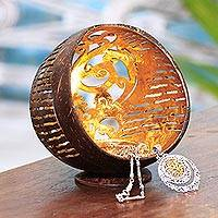 Coconut shell catchall, 'Golden Palace' - Openwork Pattern Coconut Shell Catchall from Bali