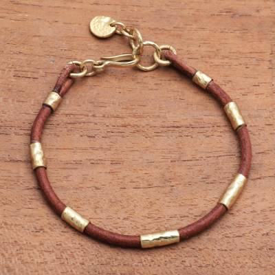 Leather and brass beaded cord bracelet, 'Banded Snake' - Leather and Brass Beaded Cord Bracelet from Bali