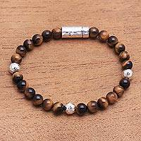 Tiger's eye beaded bracelet, 'Hammered Beauty' - Tiger's Eye and Hammered Silver Beaded Bracelet from Bali