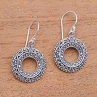 Sterling silver dangle earrings, 'Jungle Hoops' - Circular Sterling Silver Dangle Earrings from Bali