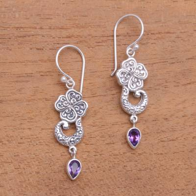 Amethyst dangle earrings, 'Waterfall Dew' - Floral Amethyst Teardrop Dangle Earrings from Bali