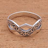 Sterling silver band ring, 'Curling Current' - Curl Pattern Sterling Silver Band Ring from Bali