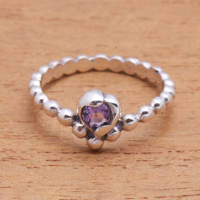 Amethyst solitaire ring, 'Lined with Dots' - Dot Pattern Amethyst Solitaire Ring from Bali