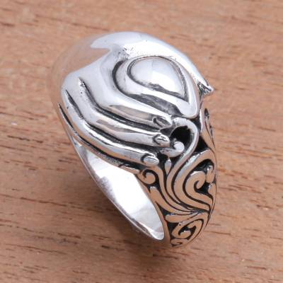 Sterling silver band ring, 'Soul in Hand' - Sterling Silver Hand Band Ring from Bali