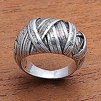 Sterling silver band ring, 'Wrapped Songket' - Sterling Silver Songket Band Ring from Bali