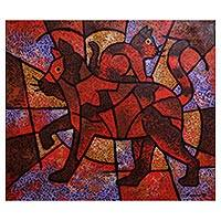'Moci and Moca' - Colorful Cubist Painting of Two Cats from Java
