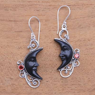 Garnet and horn dangle earrings, 'Face of Midnight' - Garnet and Black Horn Crescent Moon Dangle Earrings