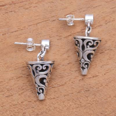 Sterling silver dangle earrings, 'Traditional Cones' - Conical Sterling Silver Dangle Earrings from Bali