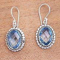 Blue topaz dangle earrings, 'Sparkling Lake' - 9-Carat Faceted Blue Topaz Dangle Earrings from Bali