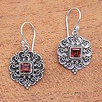 Garnet dangle earrings, 'Fluffy Clouds' - Swirl Pattern Garnet Dangle Earrings from Bali