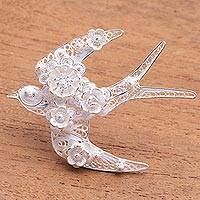 Sterling silver filigree brooch pin, 'Intricate Swallow' - Sterling Silver Filigree Swallow Brooch from Java