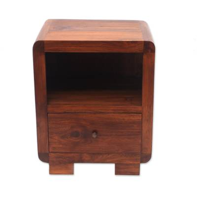 Teak wood nightstand, 'Ubud Morning' - Modern Teak Wood Nightstand Crafted in Bali