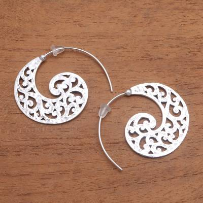Sterling silver half-hoop earrings, 'Wave Crests' - Openwork Sterling Silver Half-Hoop Earrings from Bali