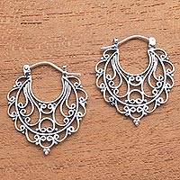 Sterling silver hoop earrings, 'Always Charming' - Swirl Pattern Sterling Silver Hoop Earrings from Bali