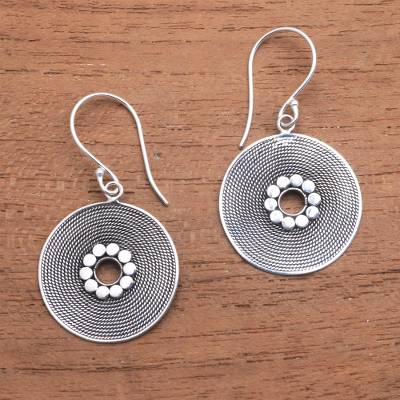 Sterling silver dangle earrings, 'Mesmerizing Rope' - Circular Rope Pattern Sterling Silver Dangle Earrings